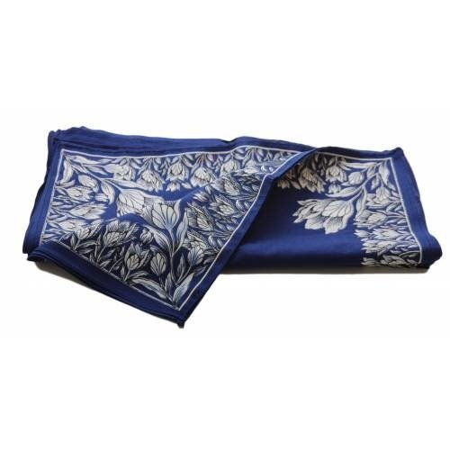 Merkloos Boeren zakdoek blauw Tulpen, klein 43 x 43 cm
