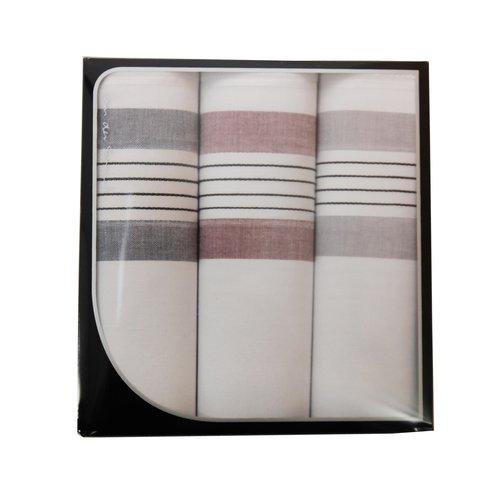 Van der Spruit Swan Heren zakdoeken wit/streep 3 stuks
