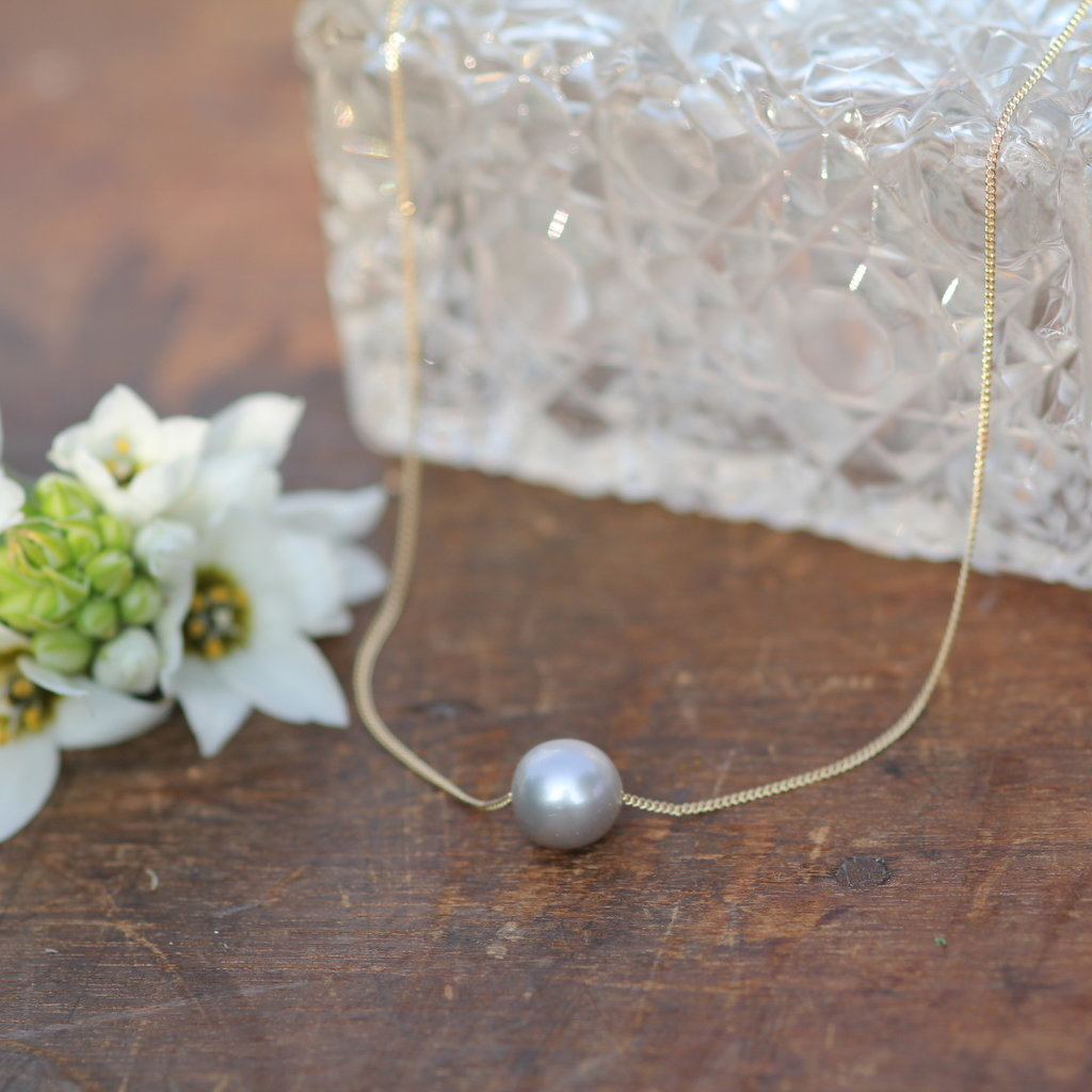 MONROE Gold Floating Pearl Necklace