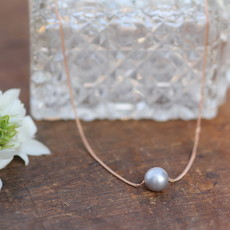 Joulberry Rose Gold Floating Pearl Necklace
