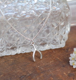 Joulberry Silver Wishbone Necklace