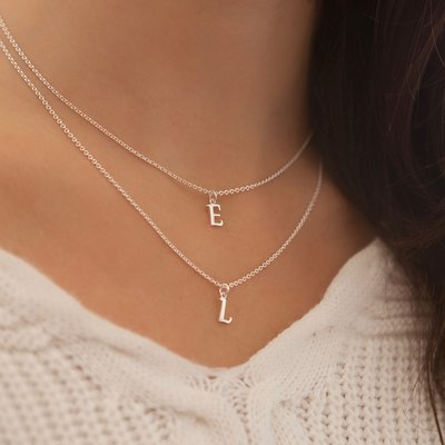 Joulberry Silver Initials Necklace