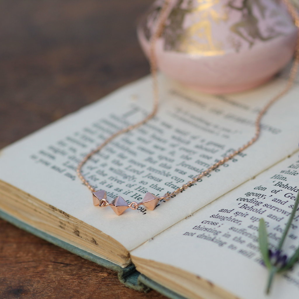 Joulberry Rose Gold Pyramid Trio Necklace