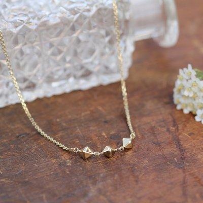 Geo Gold Pyramid Trio Necklace