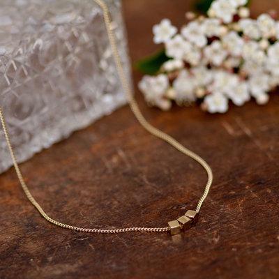 NOVA Gold Cube Necklace