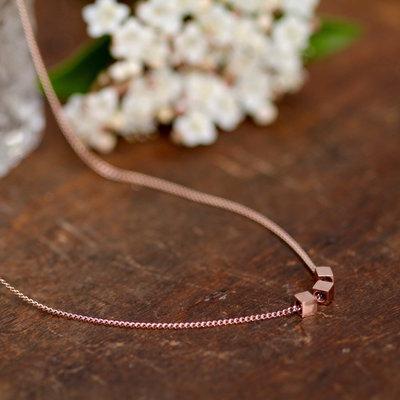 NOVA Rose Gold Cube Necklace