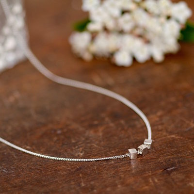 Joulberry Silver Cube Necklace