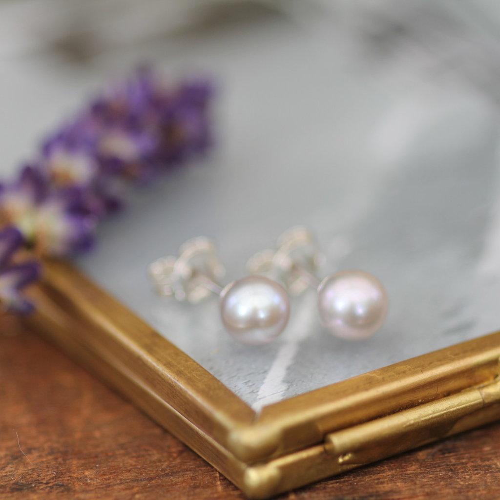 MADISON Grey Freshwater Pearl Stud Earrings