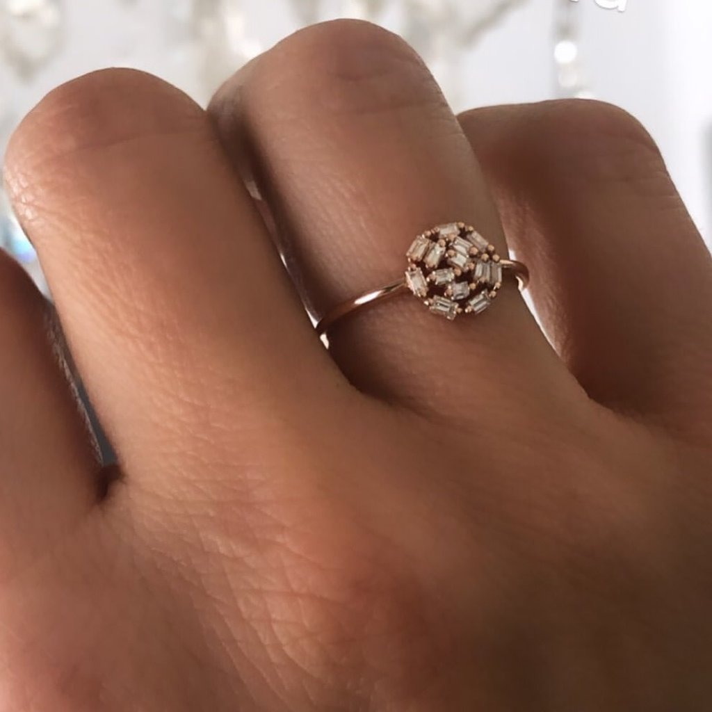 Joulberry Rose New Moon Diamond Ring