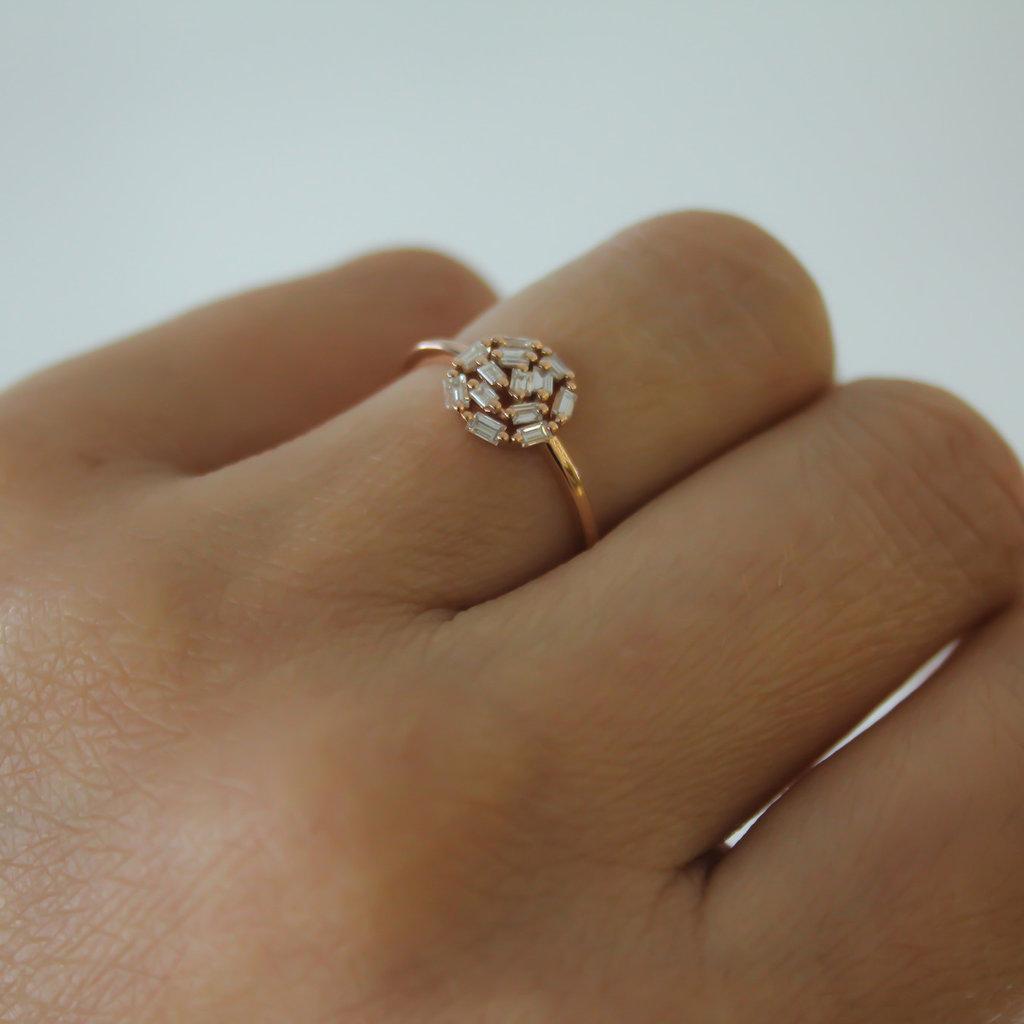 LUNA Rose Gold New Moon Diamond Ring