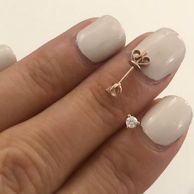 Rose Diamond Tri Claw  Earrings