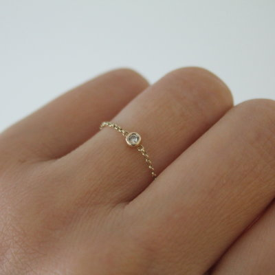Gold North Star Diamond Chain Ring