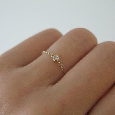 LUNAR Gold North Star Diamond Chain Ring