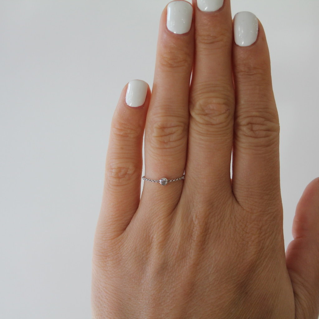 White North Star Diamond Chain Ring