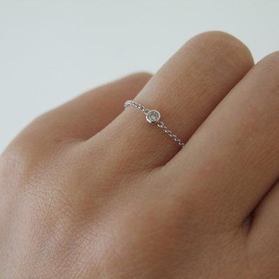 White North Star Diamond Chain Ring