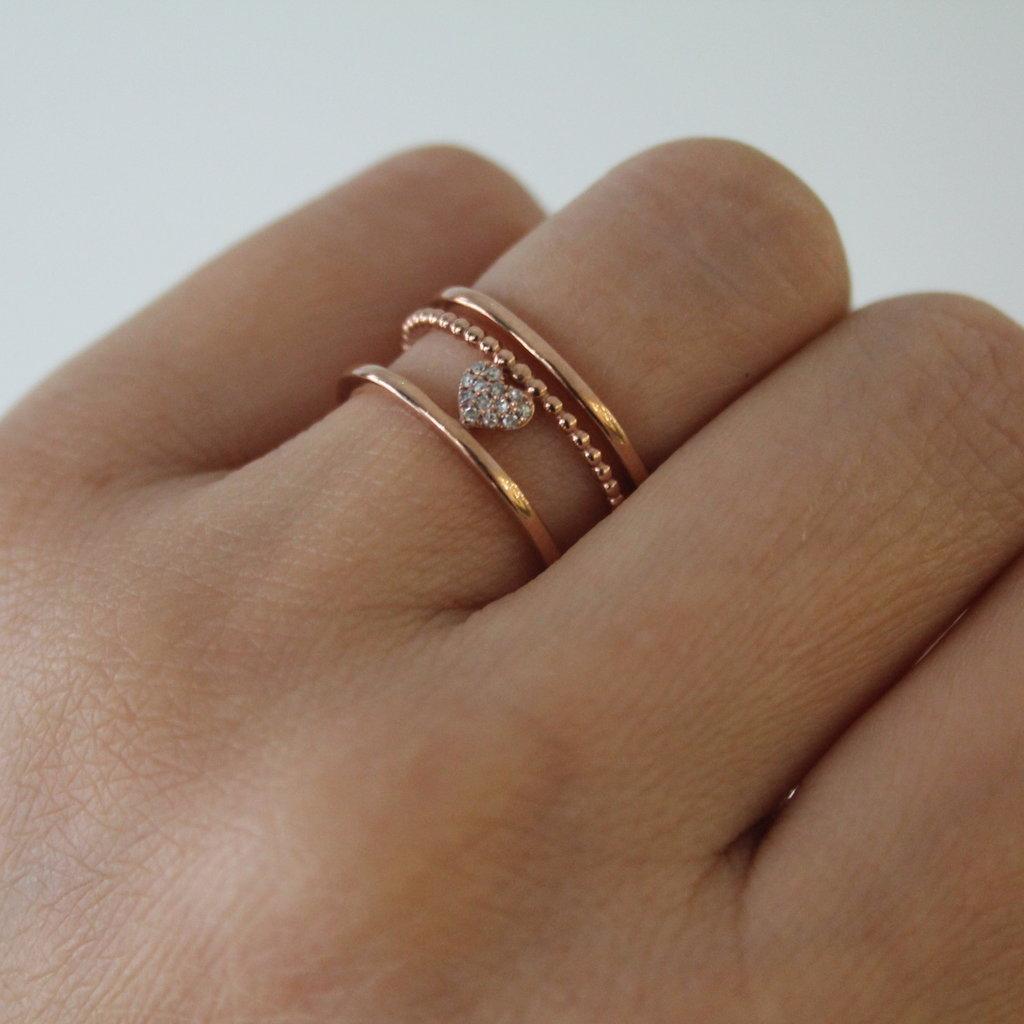 Rose Gold Diamond Celeste Heart Ring