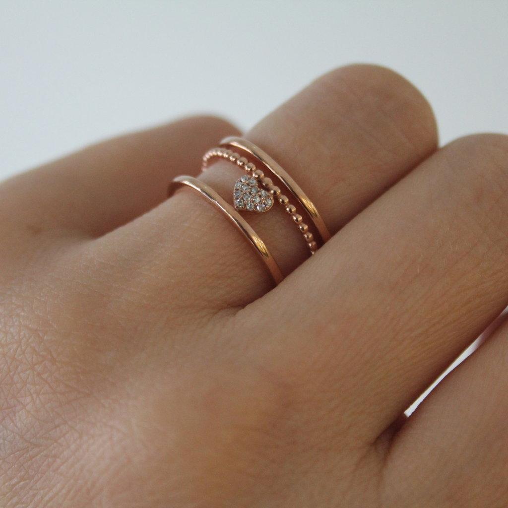 Joulberry Rose Gold Diamond Celeste Heart Ring