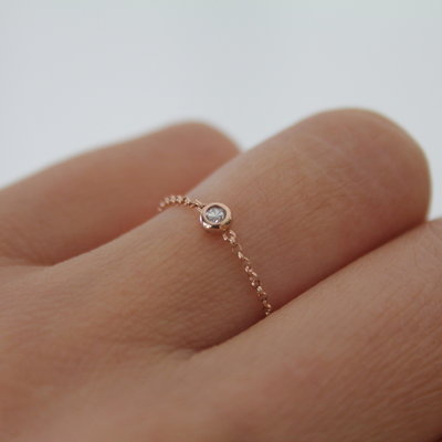 Rose North Star Diamond Chain Ring