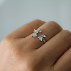 Joulberry White Gold Butterfly Ring
