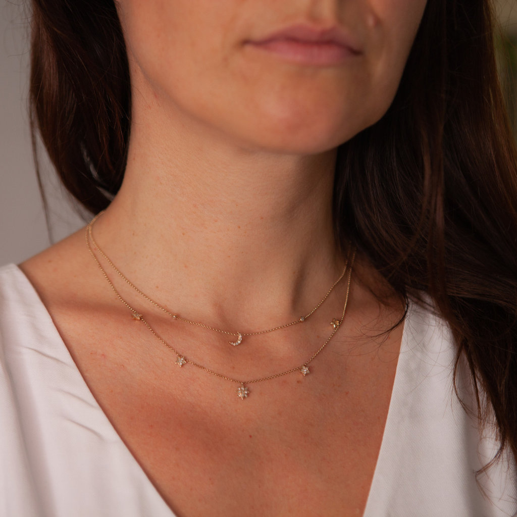 Joulberry Gold Moon and Stars Diamond Necklace
