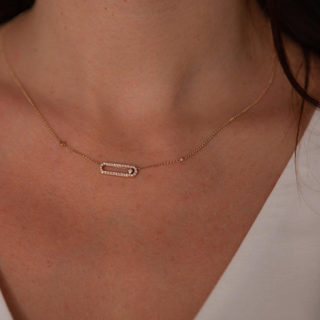 Gold Sliding Diamond Necklace