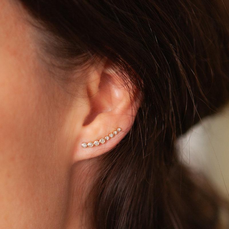 BARDOT Gold Octagon Diamond Climber Earrings