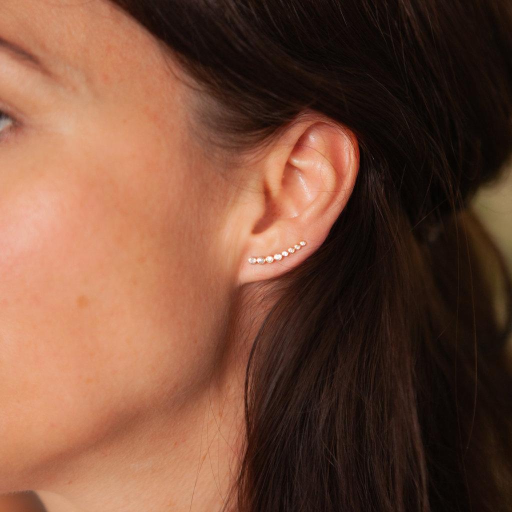 Joulberry Gold Octagon Diamond Climber Earrings