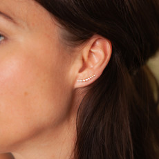Gold Octagon Diamond Climber Earrings