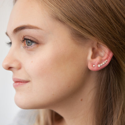 Gold Pave Diamond Climber Earrings
