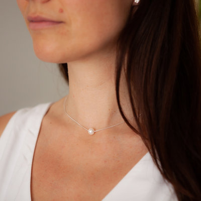 Joulberry Silver Floating Pearl Necklace