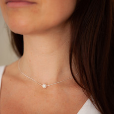 Silver Floating Pearl Necklace