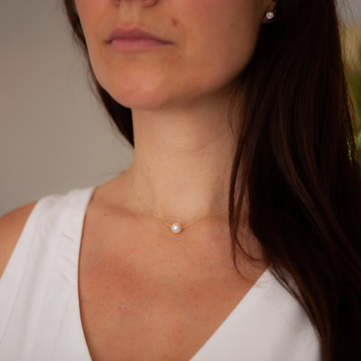 Joulberry Gold Floating Pearl Necklace