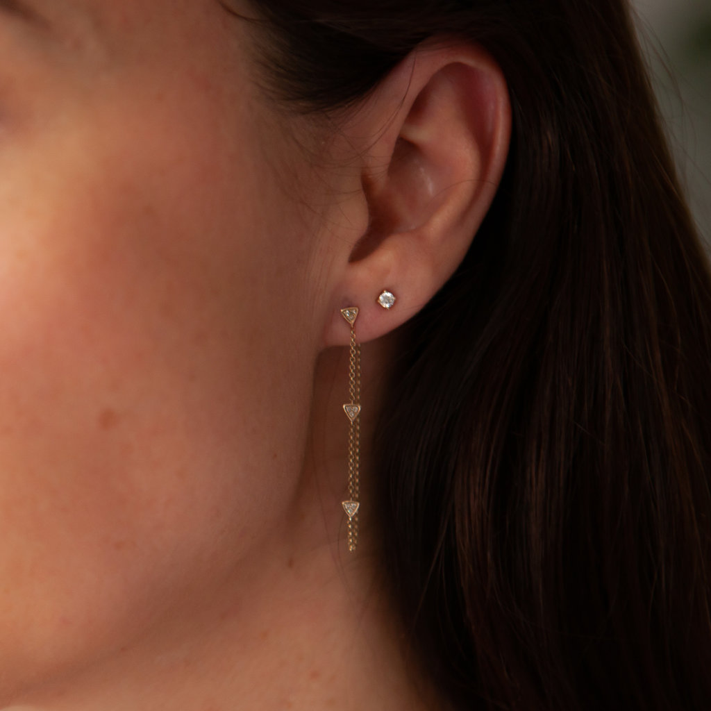 Gold Triple Diamond Chain Earrings