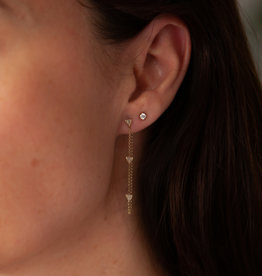 Joulberry Gold Triple Diamond Chain Earrings