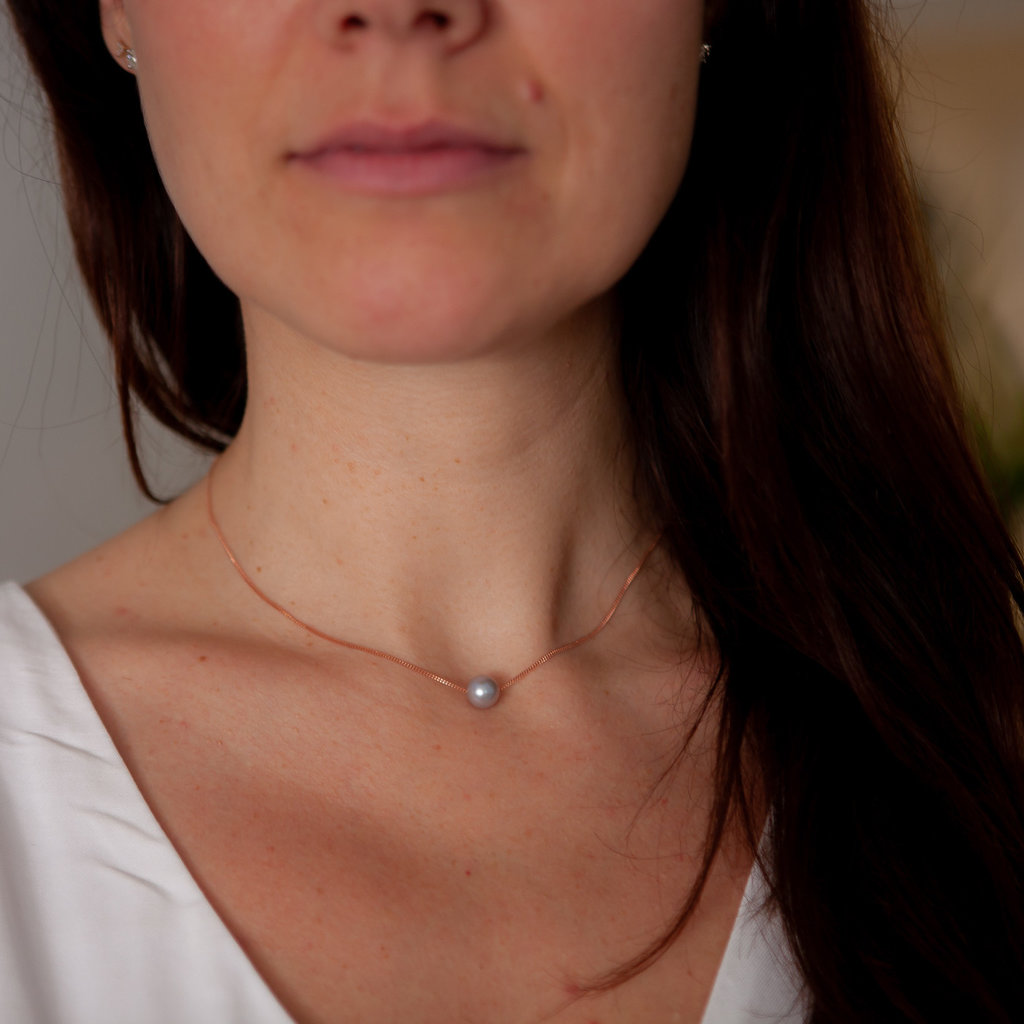 Rose Gold Floating Pearl Necklace