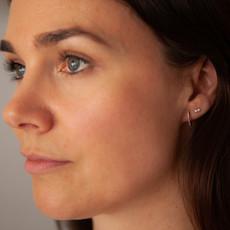 Rose Diamond Midi Hoop Earrings