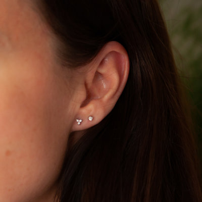 White Gold Tri Diamond Earrings