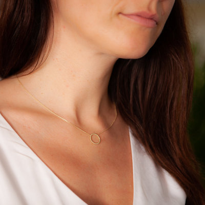 Gold Lilly Crescent Necklace