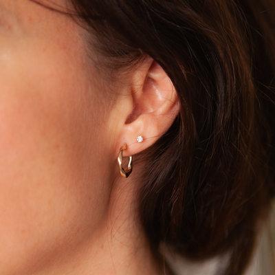 BOHO Gold Petite Twist Hoop Earrings