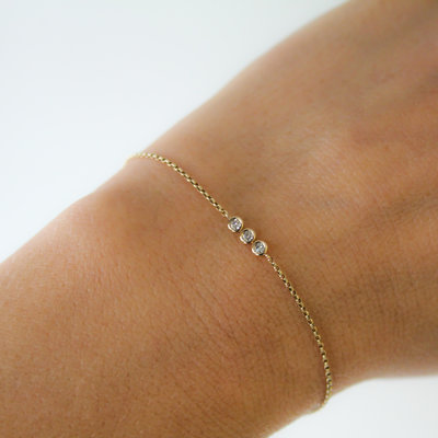 Joulberry Gold Tri Diamond Bracelet
