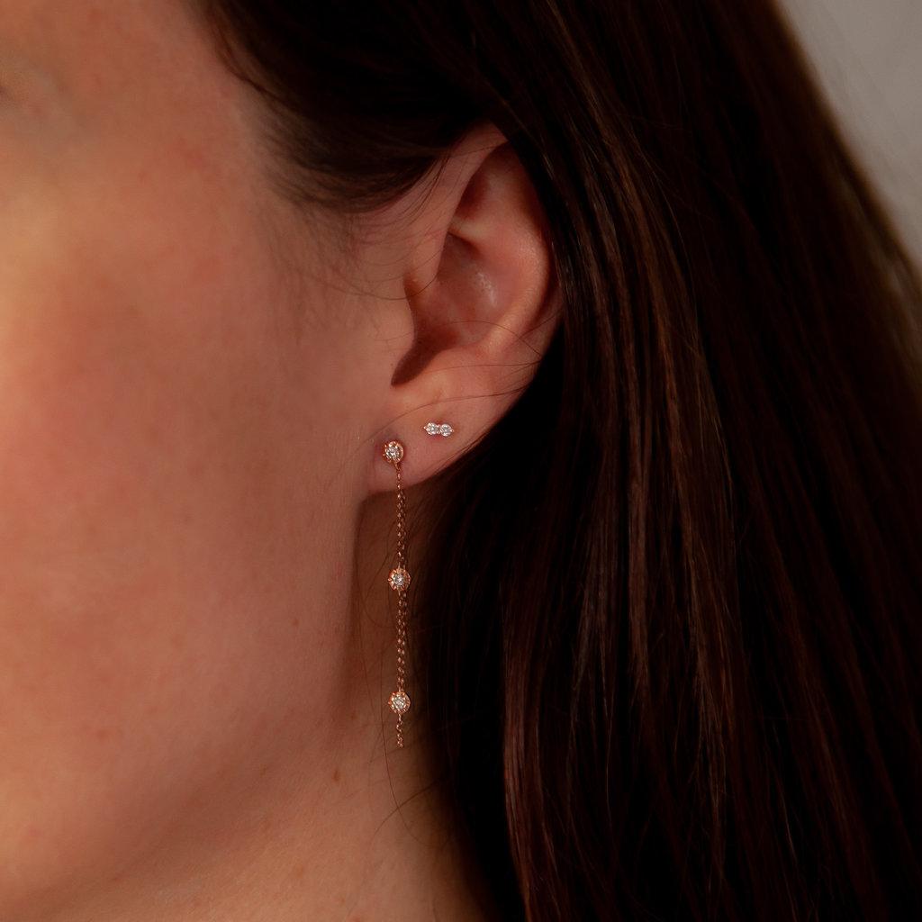Joulberry Rose Triple Diamond Chain Earrings