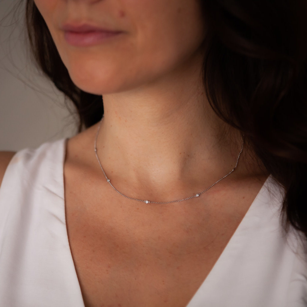 White Gold Octagon Diamond Necklace