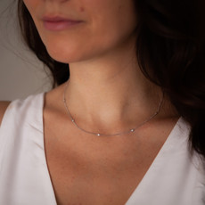 Joulberry White Gold Octagon Diamond Necklace