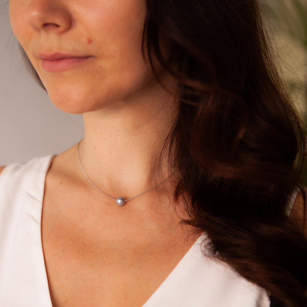 White Gold Floating Pearl Necklace