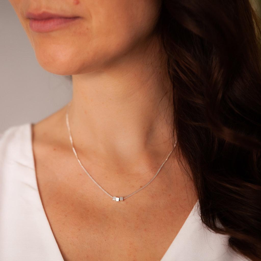 NOVA Silver Cube Necklace