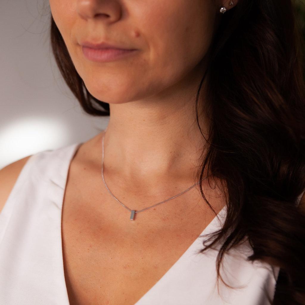 Joulberry Nova White Gold Bolt Necklace