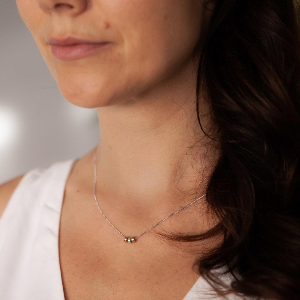 White Gold Nova Tri Necklace