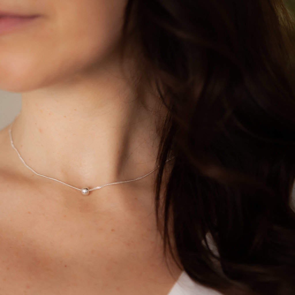 Silver Floating Ball Necklace