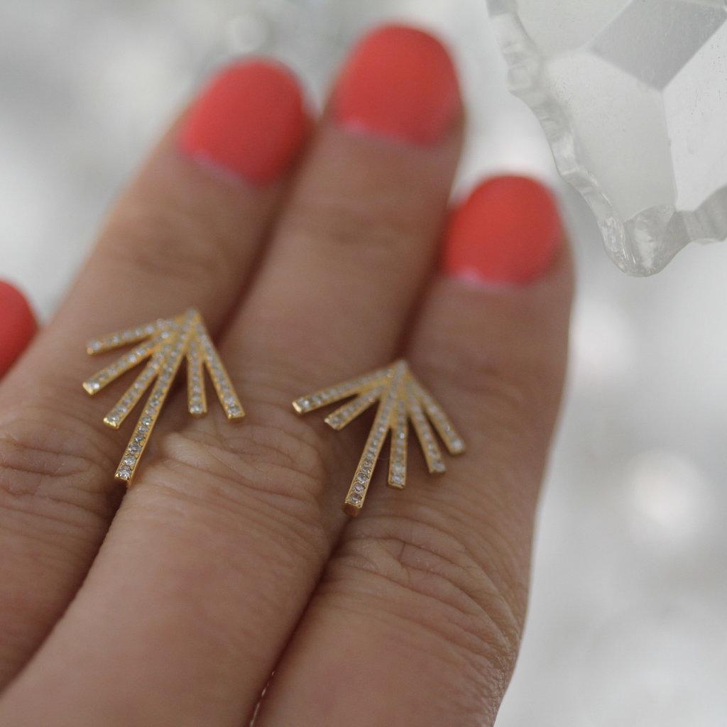 BOHO Gold Diamond Palm Leaf Earrings