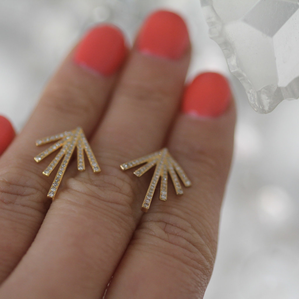 Gold Diamond Palm Leaf Earrings